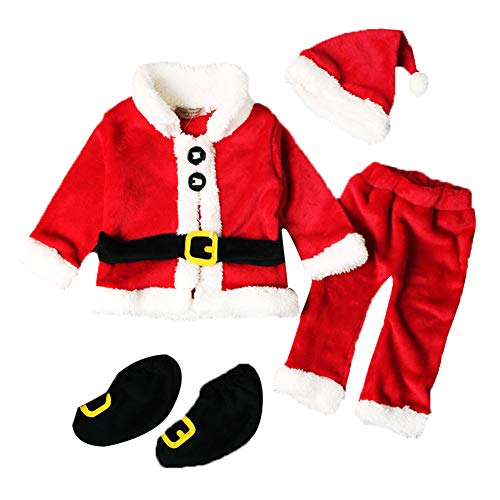 Carolilly Newborn Baby Boy Santa Claus Outfit Costume Jacket/Coat + Trousers + Hat + Boot Socks Christmas Clothing Set - Red - 6-9 Months