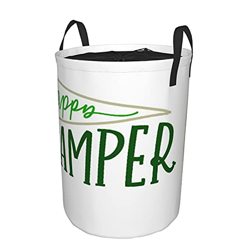 Cesto de lavandería redondo, caligrafía verde, campista feliz, camping, disfrute, bandera, letras, lugar, con cordón, impermeable, plegable, cesto de lavandería, 21.6'X16.5'