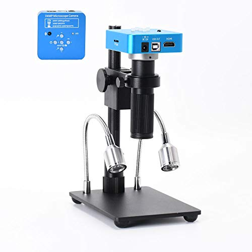 HAYEAR 34MP 2K 1080P 60FPS Full HD HDMI USB Electronic Digital Video Soldering Microscope Camera Magnifier +150X Zoom C-Mount Lens + Adjustable Illumination for Cell Phone PCB Repairing Portable