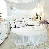 DSman Protector de colchón, con Aloe Vera, (Todas Las Medidas) Cama Redonda de Felpa otoño e Invierno-Cama Blanca Skirt_2.2m