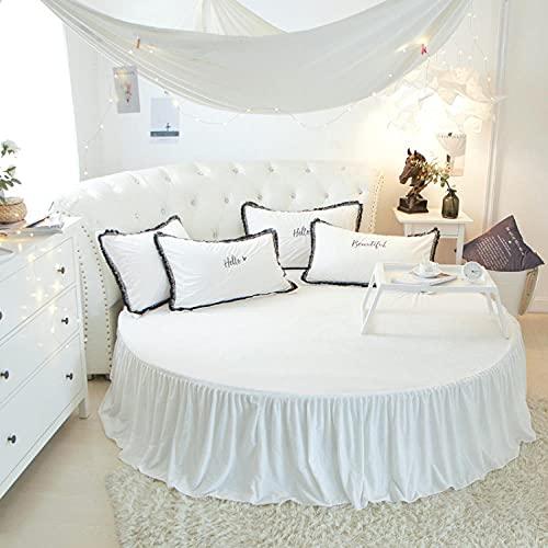 CYYyang Protector de colchón/Cubre colchón Acolchado, Ajustable y antiácaros. Falda de Cama Redonda de Felpa-Falda de Cama Blanca_1.8m