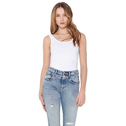 Only Live Love Long Tank Top mujer Blanco Taille Medium 95% algodón y 5% elastano.