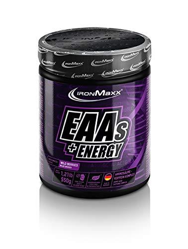 IronMaxx EAAs + Energy (Aminosäuren-Pulver mit Koffein, unterstützt Muskelaufbau, liefert Energy und Fokus) Wild Berries, 1 x 550 g Pulver