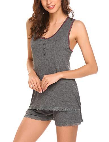 Ekouaer Pajamas Women's Cami Pajama Set Sleeveless Sleepwear Racerback PJ Sets Soft Tank Top Set with Shorts Grey XL