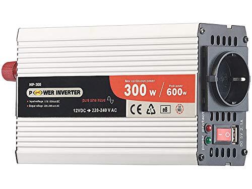 revolt Inverter: Kfz-Sinus-Spannungswandler 12 Volt auf 230 Volt, USB-Ladeport, 300 W (Spannungswandler-Wechselrichter)