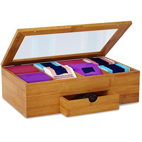 Brandalo Premium Teebox aus Bambus I Aufbewahrungsbox mit Deckel für Tee I Holz Organizer als Teekiste und Teekasten I Nachhaltige Aufbewahrung I Küchen Organizer - Tee Aufbewahrung 33 x 20 x 10 cm