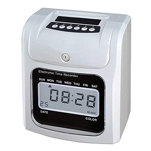 School Office Supplies Clock Face Attendance Machine Employees Check in at Work LCD Screen Electronic Time Clock Paper Card English Attendance Machine Punch Machine, Support Music Bell