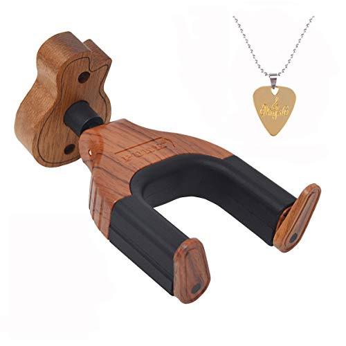 Gancho de pared para guitarra, con bloqueo automático, apto para todo tipo de guitarras acústicas, eléctricas, clásicas o bajos, Rosewood-Guitar Shape Wood Base