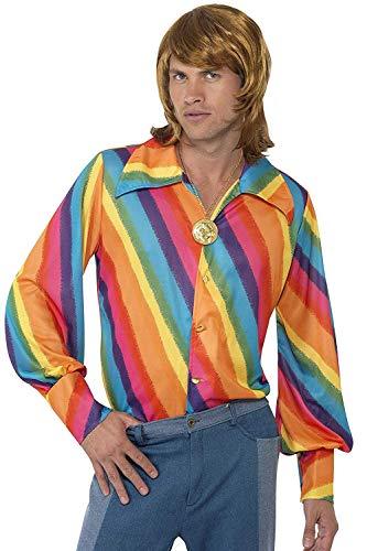 """Smiffy's Smiffys-35384M Camisa con Colores Arco Iris de los 70, M-Tamaño 38""""-40"""" 35384M"""