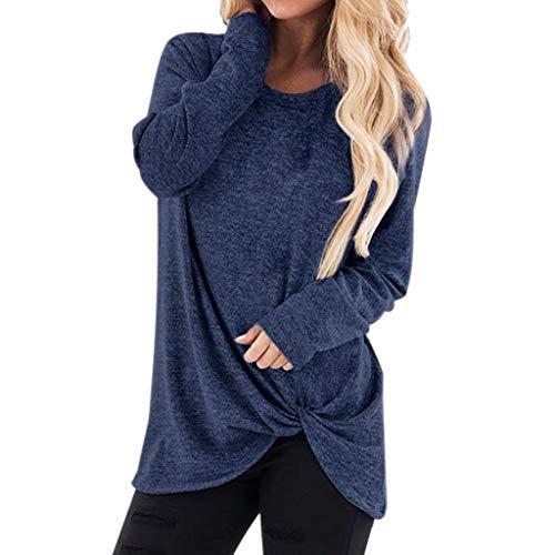 ESAILQ Damen Collection Damen Tagless T-Shirt Basic mit V-Ausschnitt(XL,Marine)