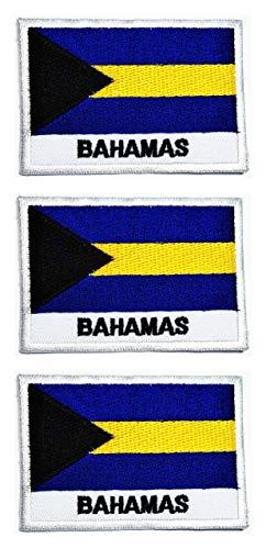 Oncex Bahamas-Flagge, bestickt, zum Aufbügeln oder Aufnähen, für Kleidung, Jeans, T-Shirts, Hüte, Rucksäcke, 3 Stück