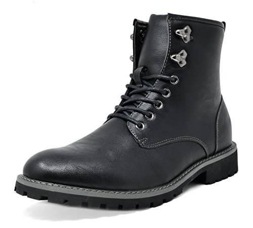 Bruno Marc Men's Stone-01 Black Motorcycle Combat Dress Oxford Boots Size 13 M US