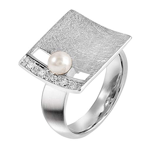 MATERIA Großer Damen Ring Silber 925 mit Perle und Zirkonia quadratisch 14mm breit gebürstet mit Ringschachtel SR-44-Gr-54