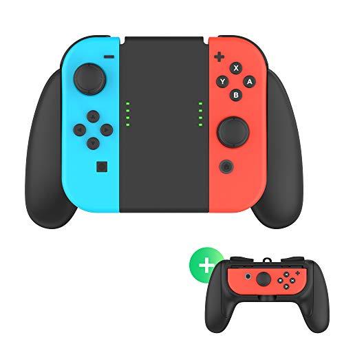 nintendo switch comfort grips TalkWorks 2-in-1 Dual Grip Joycon Charging Controller for Nintendo Switch - Comfort Grip Left/Right Joycons Charger Wireless Remote or Single Joy-Con Grip Option