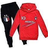 Xpialong Jogging Survêtement De Football France 2 étoiles Enfant Sweat à Capuche Filles Printemps garçons (05 Sets,8-9 Ans)