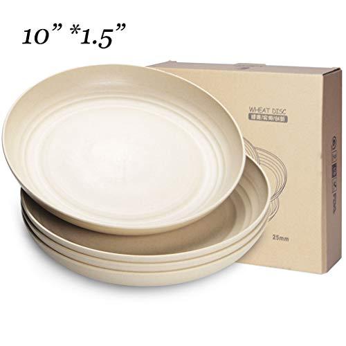 NAWOVAO 10 inch Microwave & Dishwasher Safe Plates, Eco-Friendly Wheat Straw Dinner/Dessert/Salad...
