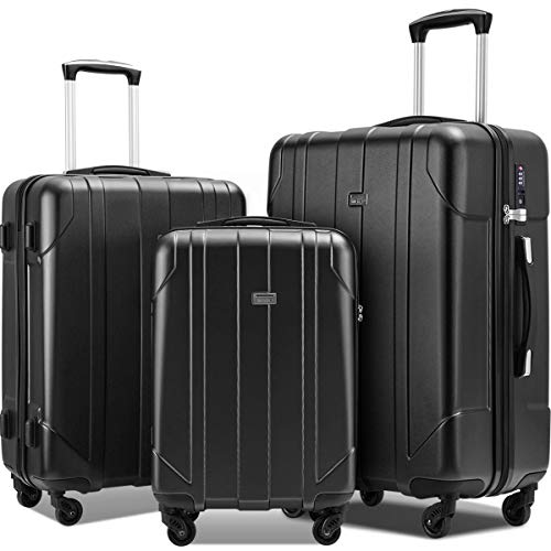 Merax 3 Pcs Luggage Set with Built-in TSA Lock, Eco-friendly P.E.T Light Weight Spinner Suitcase Set (Black)