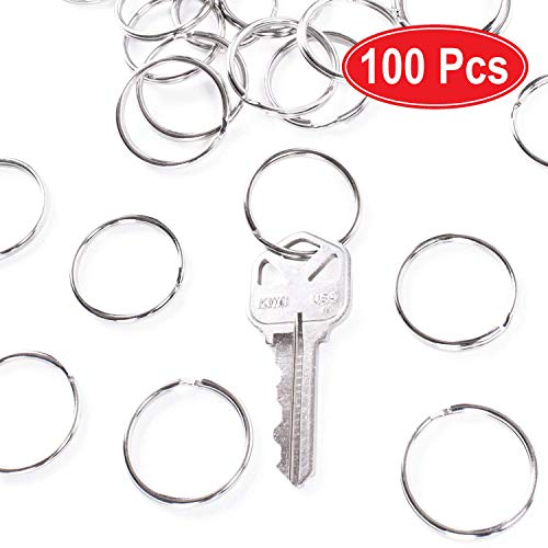 1' (25mm) Nickel Plated Silver Steel Round Edged Split Circular Keychain Ring Clips for Car Home Keys Organization, Arts & Crafts, Lanyards (100)