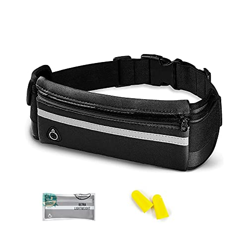 Running Waist bag Belts for Women&Men ,fanny pack, Reflective Adjustable Elastic Belt,with zipper That Fit All Phone Models and Fit All Waist Sizes. Water Resistant Runners Belt Fanny Pack for Running, Hiking, Workouts, Cycling, Travelling Money Belt & More. Gifts for Enjoy Sports Festival Workout Traveling Running Casual Hands-Free Wallets Waist Pack Crossbody Phone Bag Carrying All Phones with no-bounce adjustable sport fanny pack. (deep black)