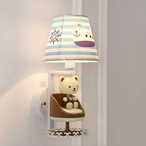 Warm Cartoon modellering vacker vägglampa barnrum säng vardagsrum arbetsrum korridor vägglampor liten björn rotation musik wall light E14 x 1