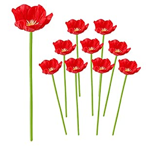 Develoo 10 PCS Artificial Poppies Flowers, Realistic Mini PU Red Poppy Flower Fake Flowers with 12.5″ Long Stem for Wedding Holiday Bridal Bouquet Home Party Decor