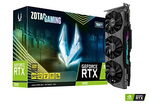 ZOTAC Gaming GeForce RTX 3090 Trinity 24GB GDDR6X 384-bit 19.5 Gbps PCIE 4.0 Gaming Graphics Card, IceStorm 2.0 Advanced Cooling, Spectra 2.0 RGB Lighting, ZT-A30900D-10P