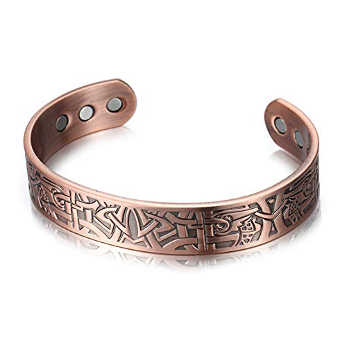 CAMORNY Pure Copper Magnet Bracelet Men's Arthritis Pain Relief Health Bracelet Magnetic Therapy Copper Wristband Retro Health Magnet Bracelet Best Natural Pain Relief Therapy,B