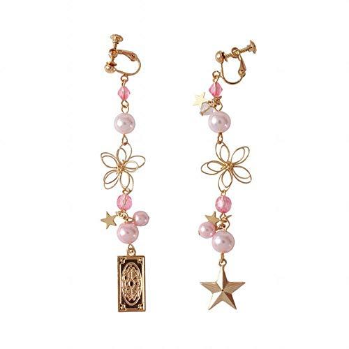 ZRDMN Frauen Tropfen Ohrringe Mokka Kirsche dreidimensionale Blume Perle fünf Sterne Ohrclip