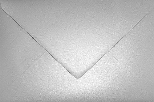 25 Perlmutt-Silber DIN C5 Briefumschläge 162x229 mm Aster Metallic Silver Spitzklappe Perlmutt-Glanz-Umschläge Perlglanz Perleffekt silberne Kuverts für Hochzeits-Einladungen Danksagungskarten