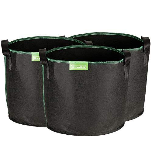 GardenMate 3X Sacs à Plantes 20L en Non tissé GREENLINE - Ø 31cm Hauteur 26cm - Noir/Vert