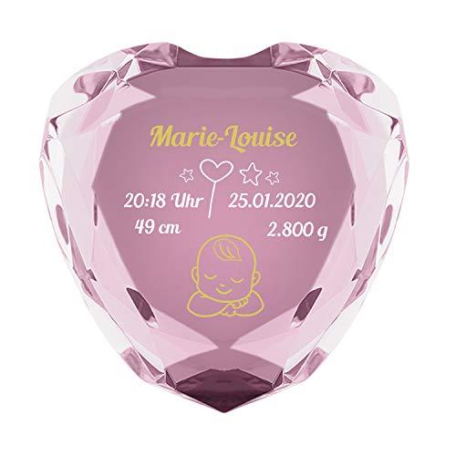 Herzdiamant zur Geburt (rosa): Diamant in Herzform mit Geburtsdaten - Name, Datum, Uhrzeit, Größe, Gewicht - Geschenkidee zum Geburtstag, Geburtsgeschenke für Mädchen