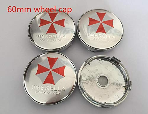 Coche Llanta centro 4 unids 56mm 60mm Umbrella Corporation Logo Cubierta de la rueda del automóvil Cubierta del centro de la tapa del emblema Emblema de la etiqueta engomada del estilismo Tapacubos