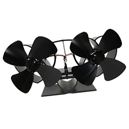 joyMerit Ventilador de estufa con motor térmico Quemador de leña de leña Chimenea Ventilador doble