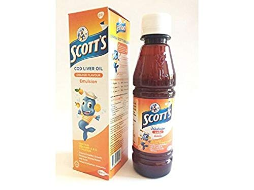 200 ml. Scott's Emulsion Cod liver oil with Vitamin A, D Calcium orange flavor dietary supplement for kids and children by Unknown