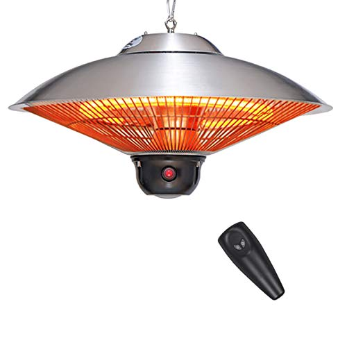 YQYJX Outdoor Patio Heater Electric Heater - Ceiling Mount Remote Outdoor Heater Infrared Carbon Tube Heater Portable Heater,3Level Power Levels Weatherproof,Carbon Fiber,2100W