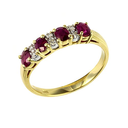 Ivy Gems 9ct Yellow Gold Ruby and Diamond Half Eternity Ring - Size J