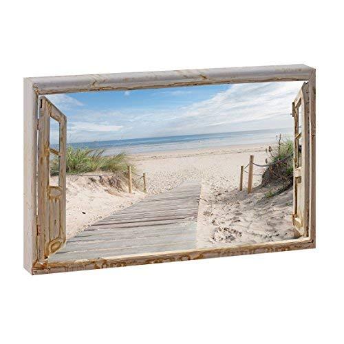 Bild auf Leinwand mit Fenster-Motiv Fensterblick Holzsteg zum Meer | 120 x 80 cm, Farbig, quer, Wandbild, Leinwandbild mit Kunstdruck, Fensterblickbild auf Holzrahmen gespannt, 80x120 cm