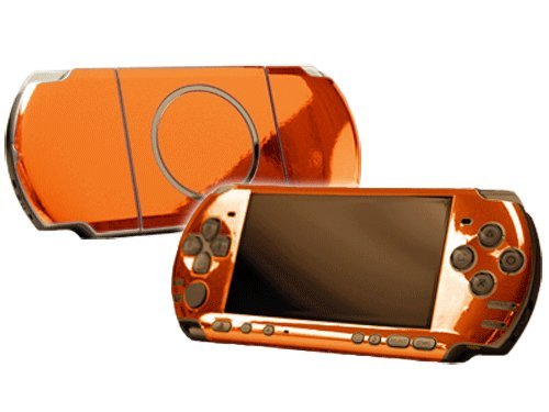Orange Chrome Mirror Vinyl Decal Faceplate Mod Skin Kit for Sony PlayStation Portable 3000 Console by System Skins