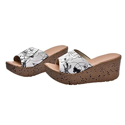 Sandalias de plataforma de cuña para mujer Sandalias de baño de verano con punta abierta Sandalias casuales de natación al aire libre para mujer Deslizadores de secado rápido de playa