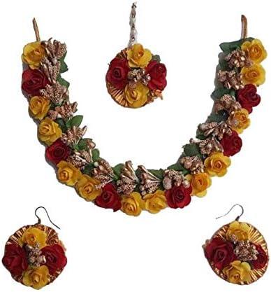 Riya Handicraft Women's Fabric Paper Rose Flower Jewelry Set Casual Wear