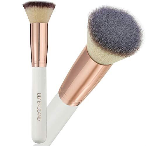 Pinceau de maquillage pour le visage Lily England Kabuki - Pinceau plat en poils synthétiques ultra doux pour fond de teint liquide, crème ou poudre (couleur or rose et blanc perle)
