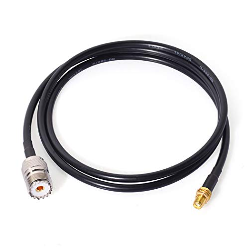 Bingfu Ham Radio Antenna Adapter SMA Female to UHF SO239 Female RG58 Coaxial Jumper Cable 1m 3 feet for Handheld Ham Two Way Radio Walkie Talkie Kenwood Wouxun Baofeng BF-F8HP UV-5R UV-82 BF-888S GT-3