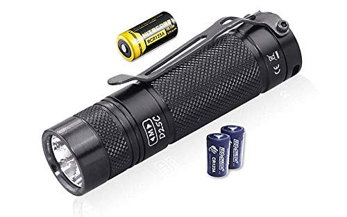 eagletac Value Bundle D25C MKII XM-L2 U4 Flashlight - 800 Lumen, 128 Meter Throw with 2X Free Eco-Sensa Premium CR123A Batteries and 1x Nitecore NL166 Rechargeable Li-ION Battery