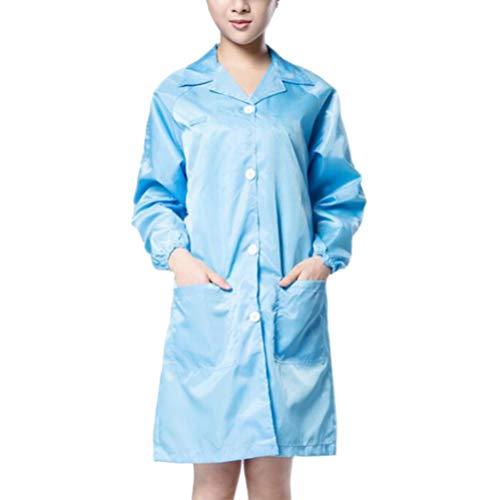 Exceart Laboratoriumjas Scrubs Verpleegster Arts Werkkleding Beschermende Overall Medische Laboratoriumjas Uniform (Blauw Maat S)