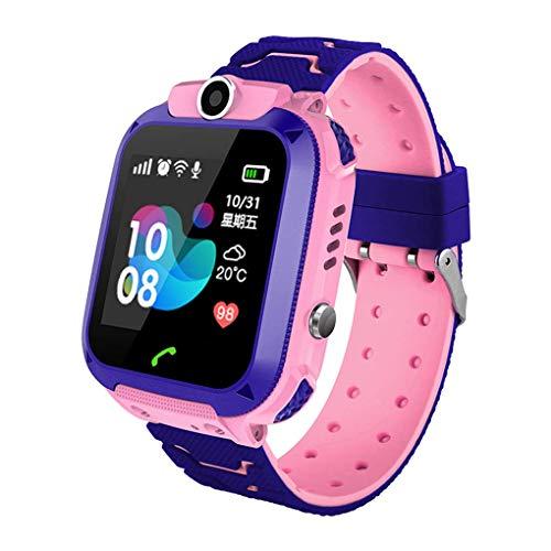 Winnes Inteligente Reloj para Niños, IP67 Impermeable Smart Watch Phone 2 Vías Llamada Reloj Niñas Localizador con SOS Anti-Lost Alarm Táctil Smartwatch para 3-12 Años De Edad (S12 Rosa)