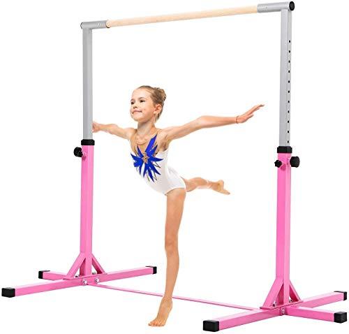 Max4out Gymnastics Training Bar Adjustable Height Kip Bar with Added Stability - Gym Pro Gymnastics Bar Pink
