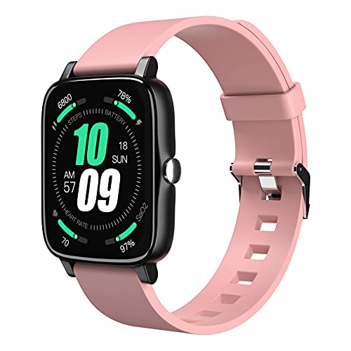 """Tanzato Smartwatch, Reloj Inteligente Hombre Mujer con 1.7"""" Táctil Completa IP68 para Pulsómetro, Monitor de Sueño,MET, Monitores de Actividad, Pulsera de Actividad Inteligente para Android iOS (Rosa)"""