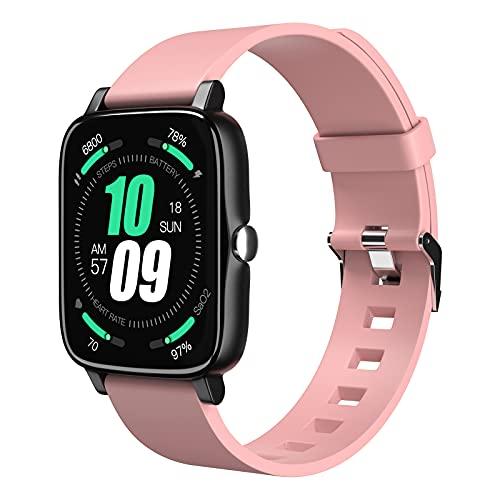 Tanzato Smartwatch, Reloj Inteligente Hombre Mujer con 1.7' Táctil Completa IP68 para Pulsómetro, Monitor de Sueño,MET, Monitores de Actividad, Pulsera de Actividad Inteligente para Android iOS (Rosa)