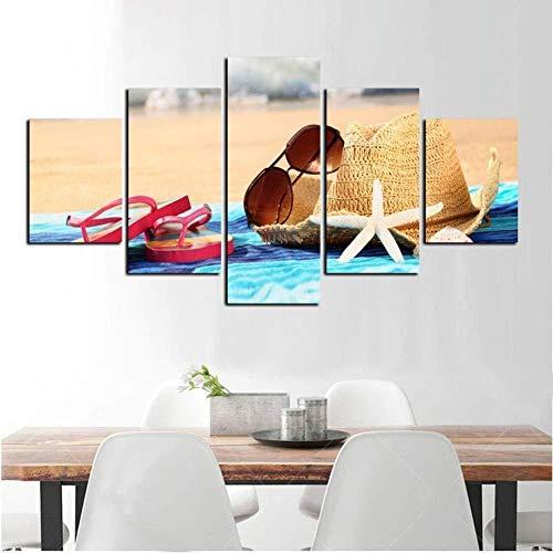 Suwhao 5 Beach Signs zonnehoed en zonnebril Slippers schoon Canvas afdrukken als de woonkamer om artistieke gift te versieren