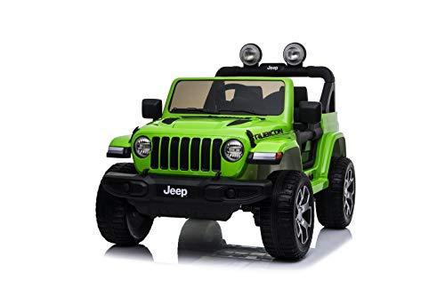 TOYSCAR electronic way to drive Auto Macchina Elettrica Jeep Wrangler Rubicon 12V per Bambini Porte apribili con Telecomando Full Accessori (Green)